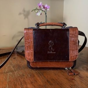 bella rose brown  leather shoulder purse